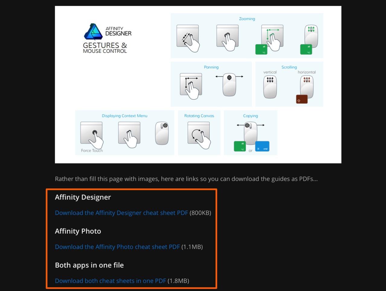 Affinity designer and affinity photo cheat sheet2
