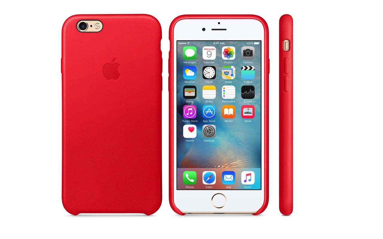 Apple、「iPhone 6s/ 6s Plus」レザーケース PRODUCT(RED)発売