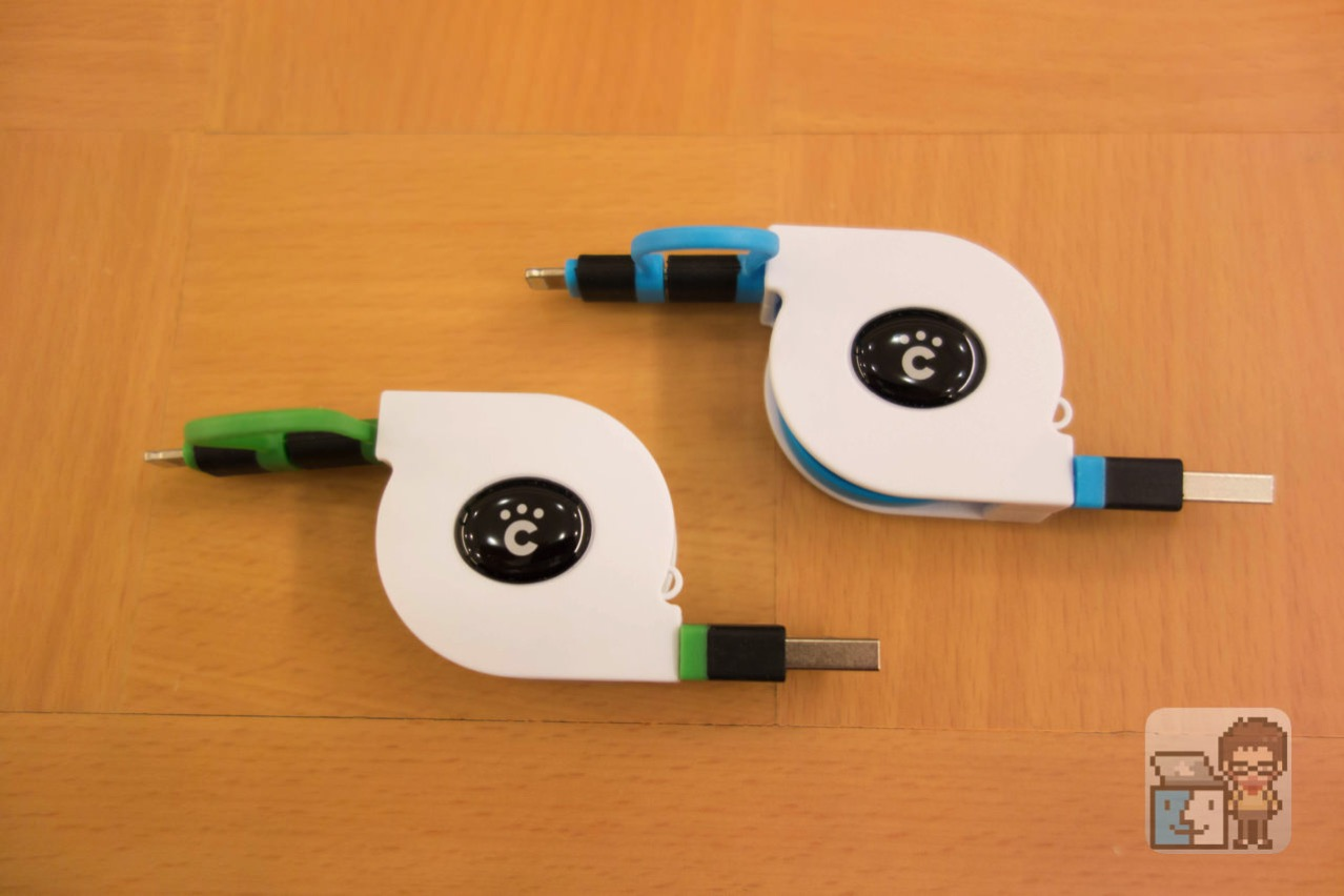 Cheero 2in1 retractable usb cable white and green1