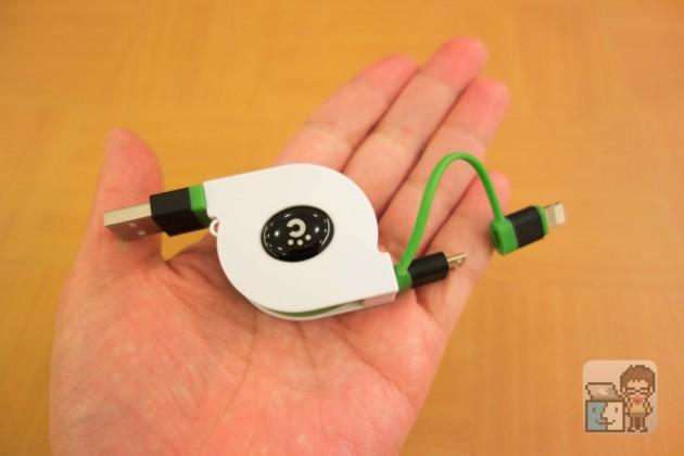 【レビュー】ライトニング&マイクロUSBが合体したcheeroの巻取式ケーブル(グリーン色)が良い感じ