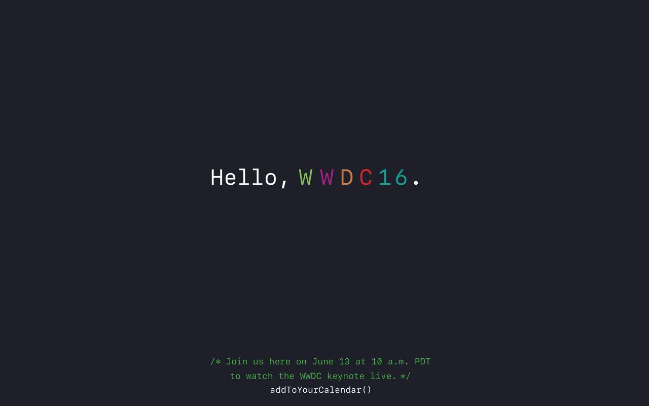 アップル、「WWDC 2016」の生中継配信ページを公開
