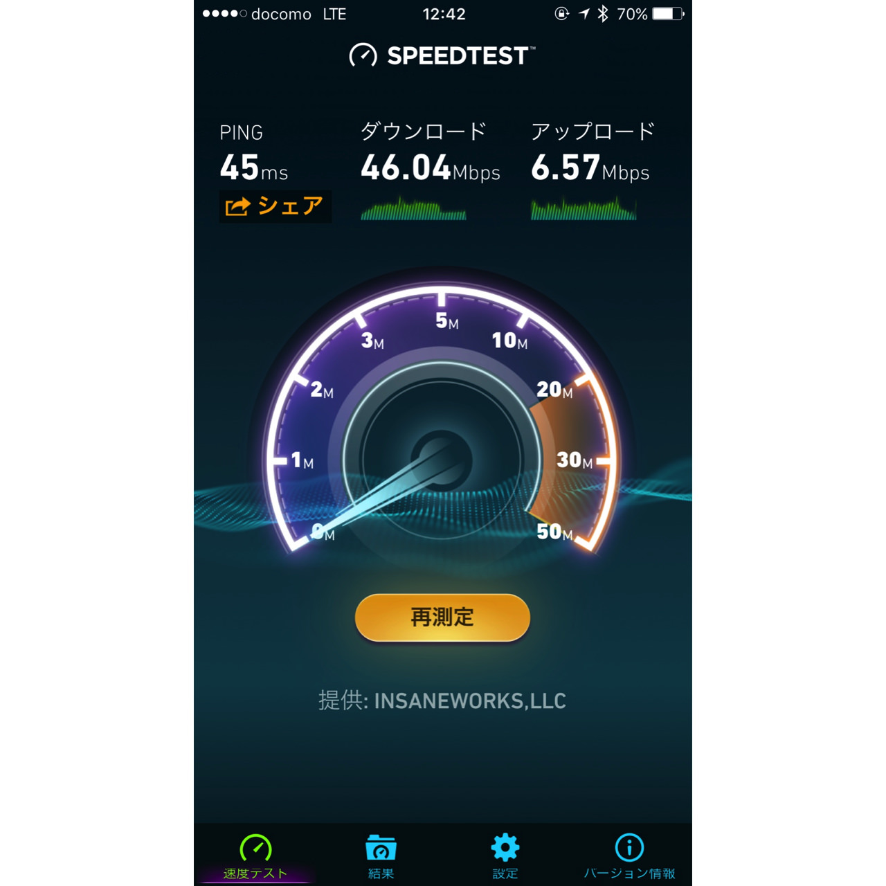 Result of try speed test of line mobile kitasenju2
