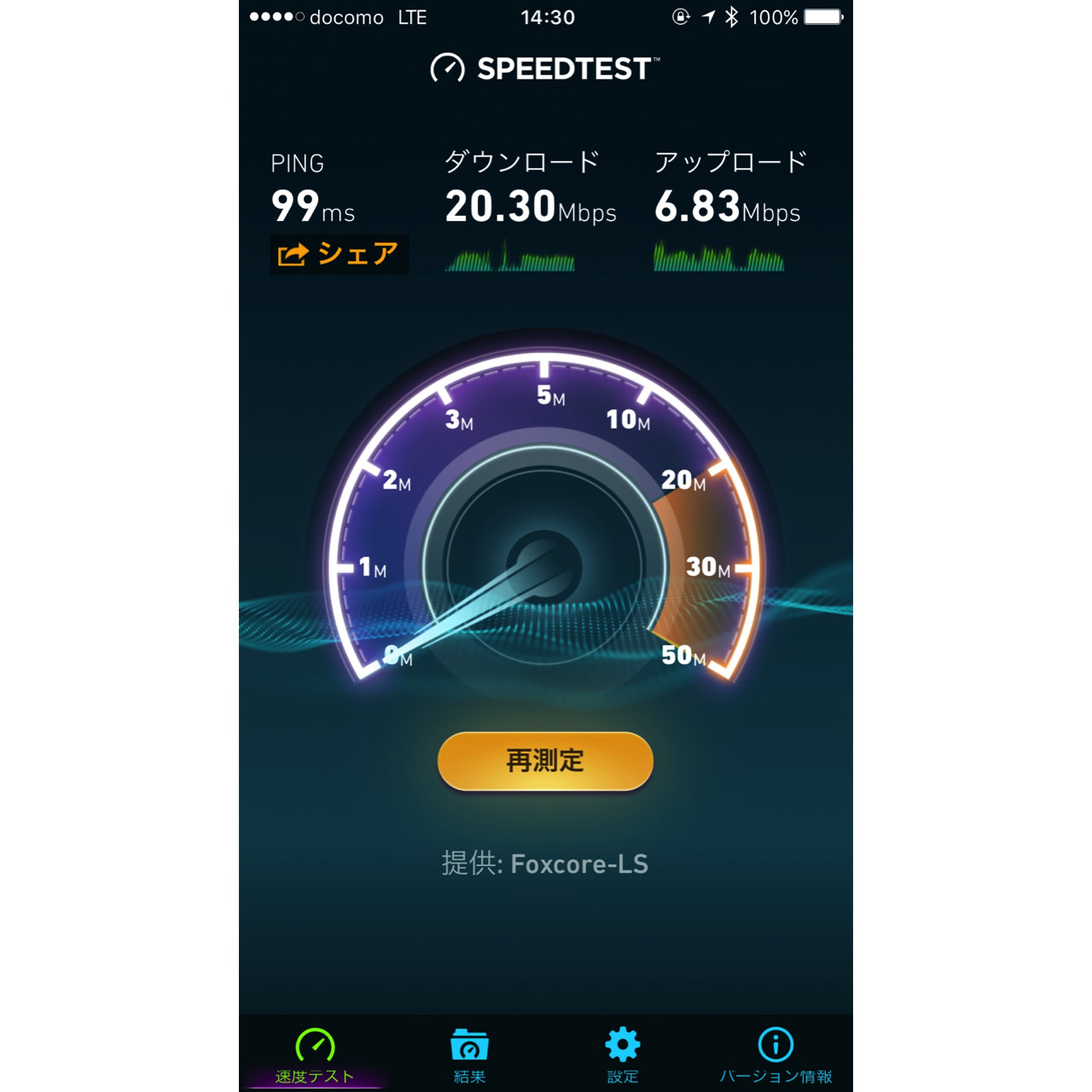 Result of try speed test of line mobile kitasenju4
