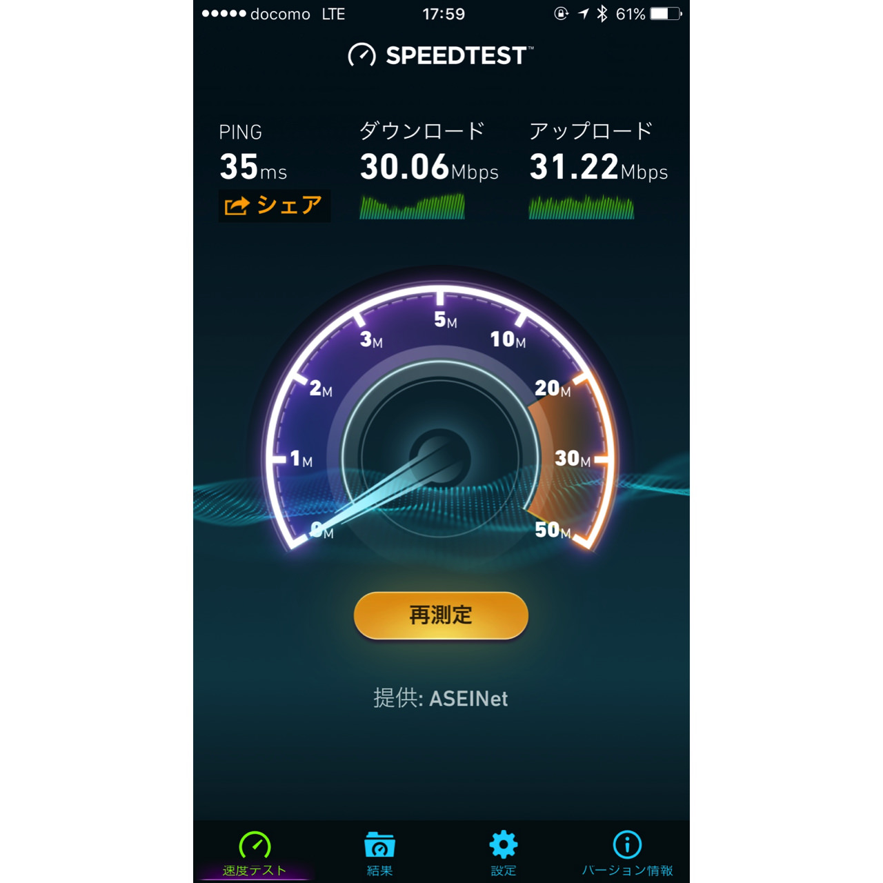 Result of try speed test of line mobile kitasenju6