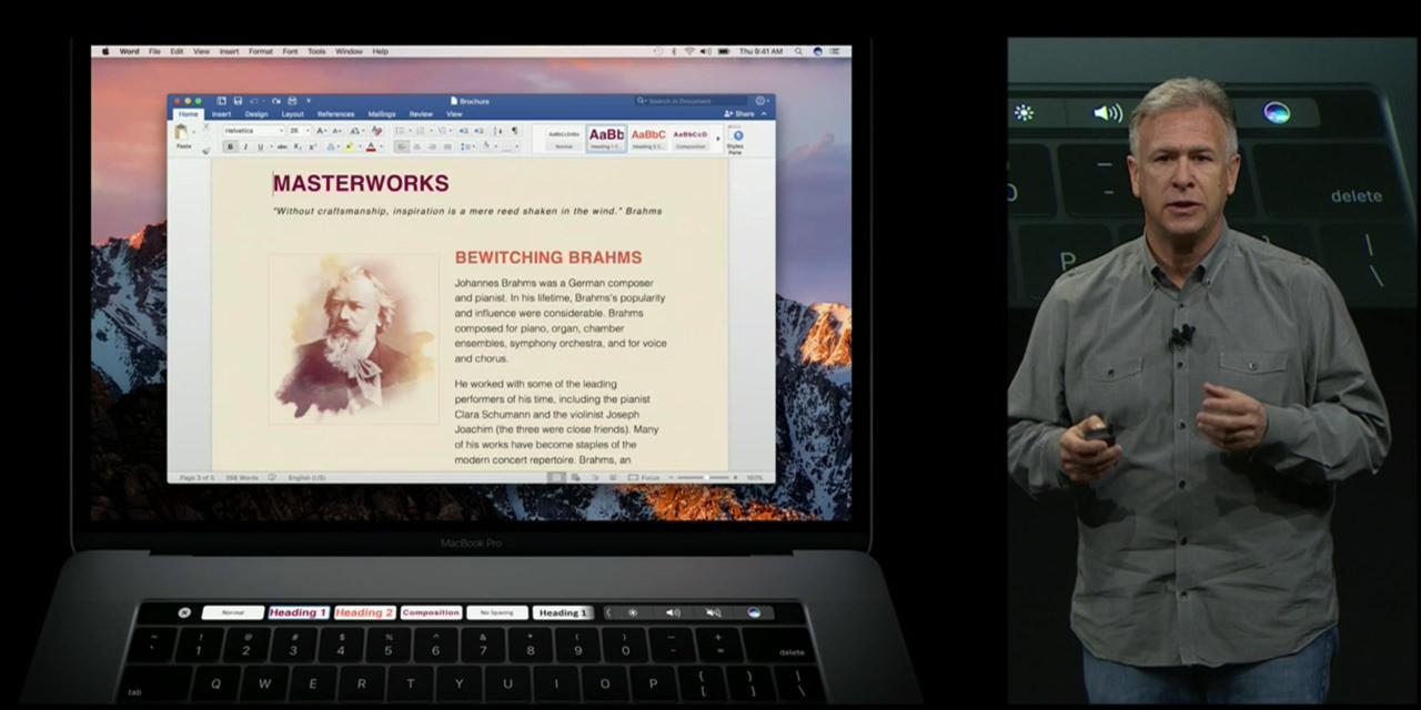 App corresponds touch bar macbook pro late 20161