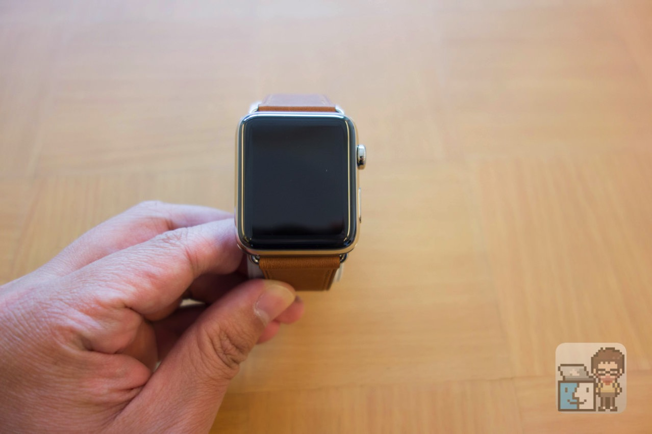 Apple watch 2 stainless steel case with saddle brown classic buckle5