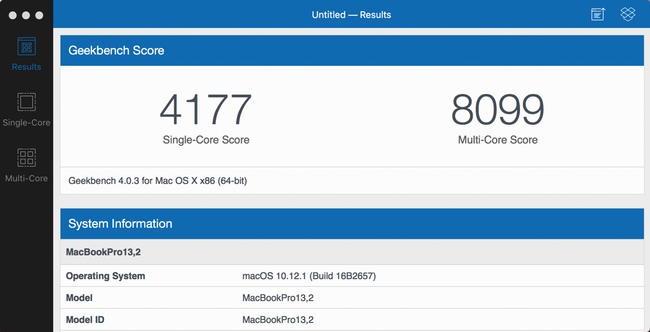Benchmark score for macbook pro 13 with late 2016 touch bar5