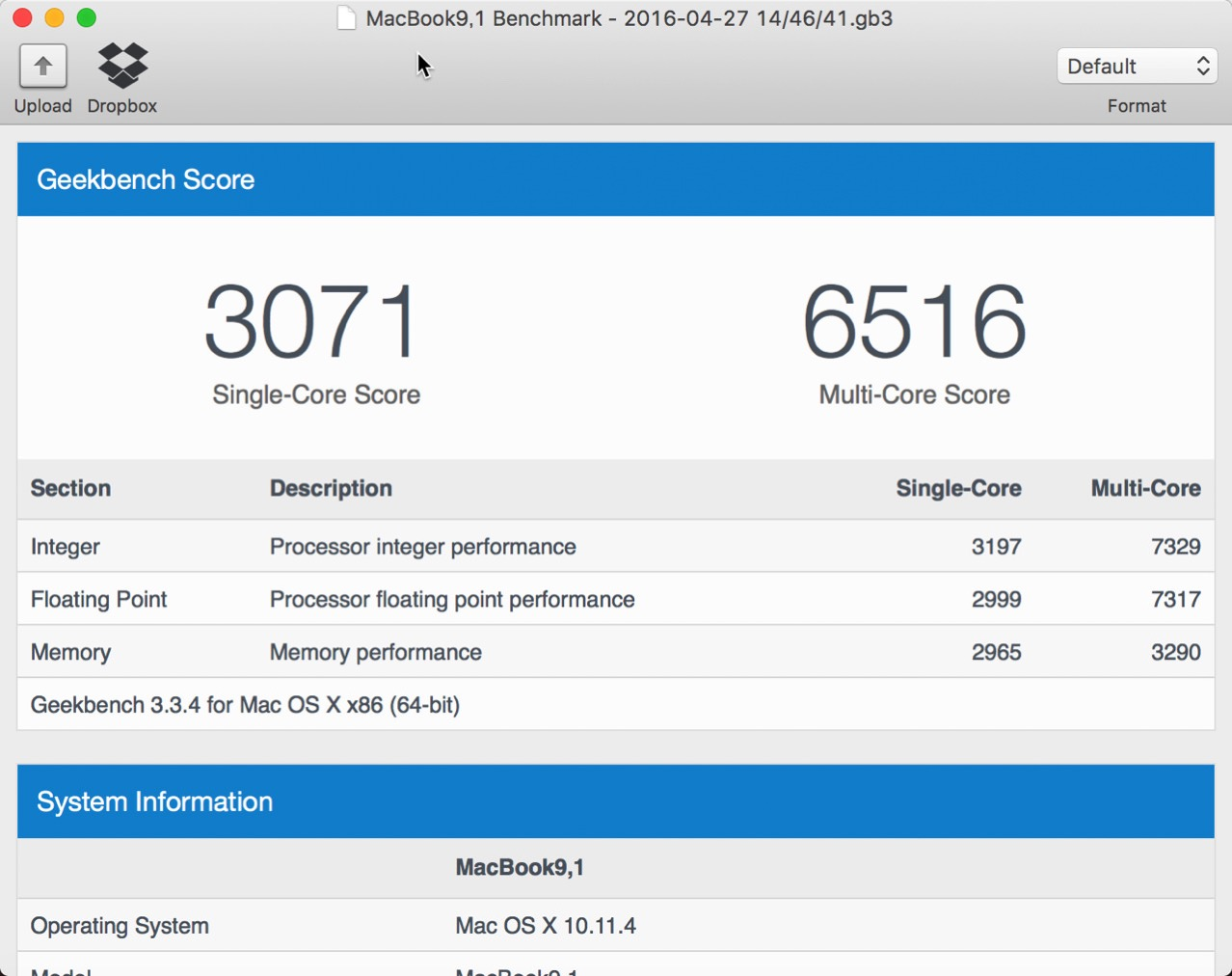 Benchmark score for macbook pro 13 with late 2016 touch bar6