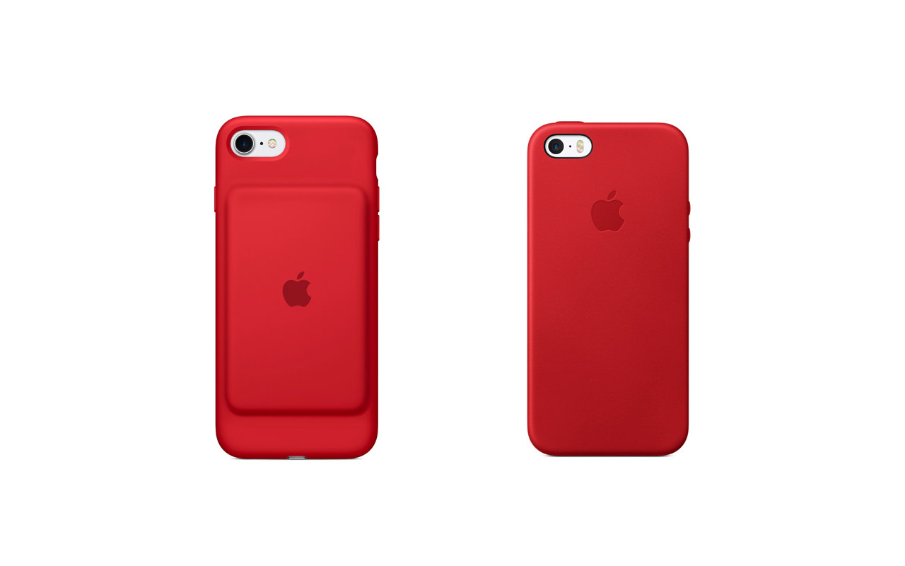 Apple、(PRODUCT)REDモデルの「iPhone SEレザーケース」と「iPhone 7 Smart Battery Case」を販売開始