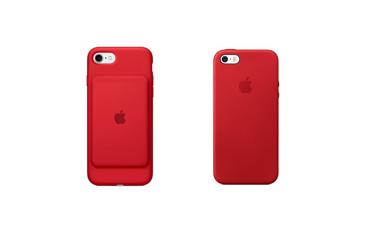 Apple、(PRODUCT)REDモデルの「iPhone SEレザーケース」と「iPhone7 Smart Battery Case」を販売開始