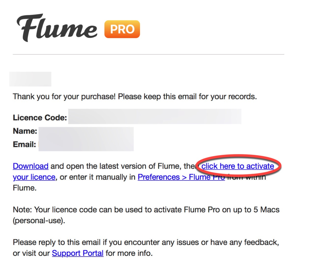 Transfer license of mac application flume12