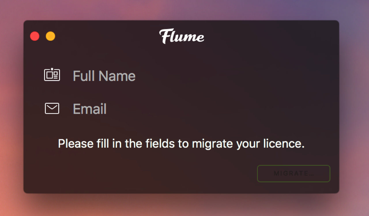 Transfer license of mac application flume7